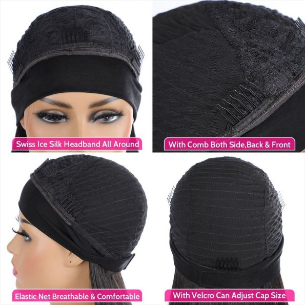 headband wig cap detail