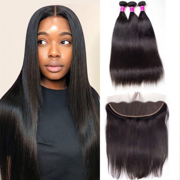 peruvian straight 3 bundles with frontal